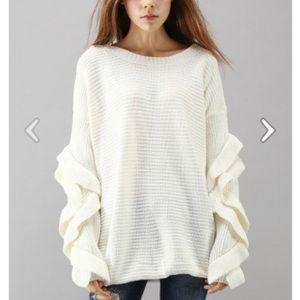 chicwish charm to meet you ruffle sleeve sweater
